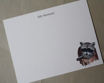 NEW! Baby Raccoon Custom Stationery Notecards, Stationery. Thank You, Any Occasion, Personalize Watercolor Print, Set of 10.