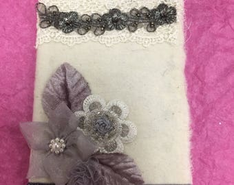 Fabric Lace Journal, Shabby Chic Lace Journal, Romantic Lace Fabric Journal, Lace Notebook
