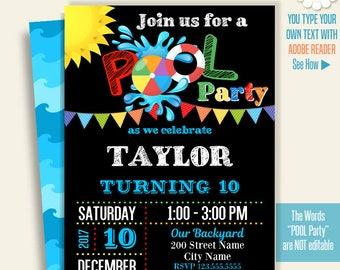 Pool invitation, Printable pool invitation, Instant Download Self Editable PDF A272