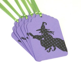 Witch Halloween Tag Handmade 6 Tags Blank trick or treat tag purple