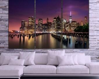 New York City Skyline Canvas Wall Art, Large Art, New York Photo, New York Art, New York, Print, New York Poster, New York Canvas, sunset