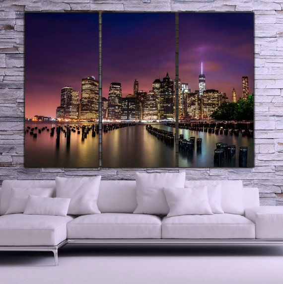 Designart New York City Skyline Panorama 5 Piece Wall: New York City Skyline Canvas Wall Art Large Art New York