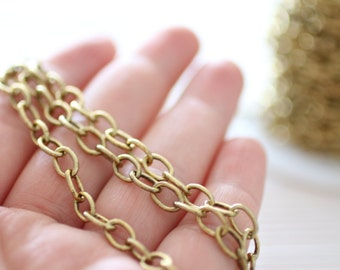 8x5 mm brass antique gold cable chain, brass chain, antique chain, gold chain, cable chain, brass necklace chain, foot chain, jewelry chain