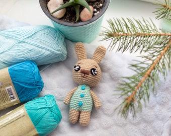 Crochet blue bunny with buttons,  Tiny baby Toy, Crochet miniature bunny, Amigurumi stuffed animal, Plush hare