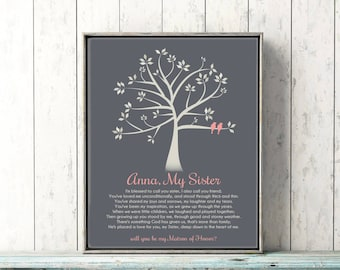 Personalized Sister Gift Canvas Print Matron of Honor SISTER  Poem GIFT Will You Be My Proposal Art Print Bridesmaid Gift Tree Birds Wedding