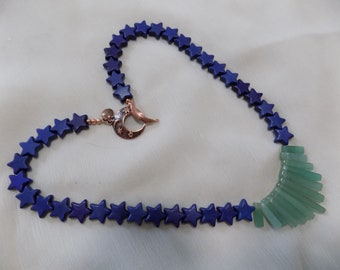 """Blue Howlite Stars and Green Aventurine Stick """"Moon and Stars"""" Necklace"""