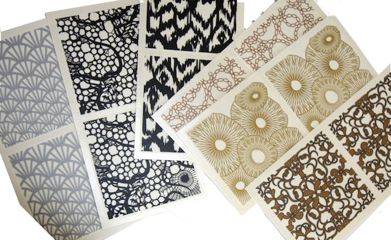 12 piece Clay decals by Sculpey, allows you to easily design trendy pieces of polymer clay jewelry, bowl and more