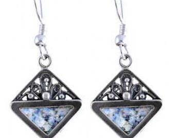 Filigree Earrings, Rhombus OOAK 925 Sterling Silver Earrings, Roman Glass Earrings, Unique Jewelry