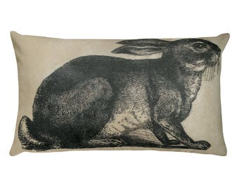 Bunny rabbit. Nature. Print. Home Decor. Rectangular Pillow. Animal