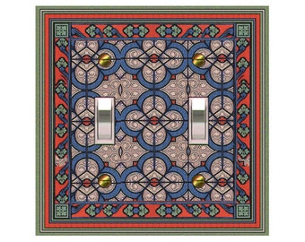 1110x - Medieval Stained Glass (faux) - mrs butler switch plate covers - choose sizes / prices from drop down box