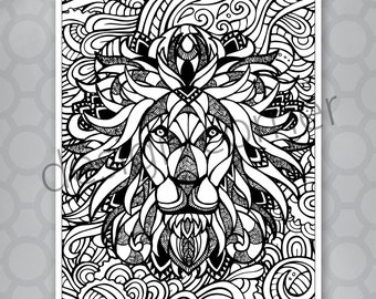 INSTANT DOWNLOAD Exotic Zentangle Lion Coloring Page