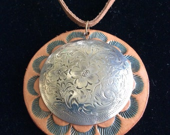 Leather Silver Concho Pendant Necklace