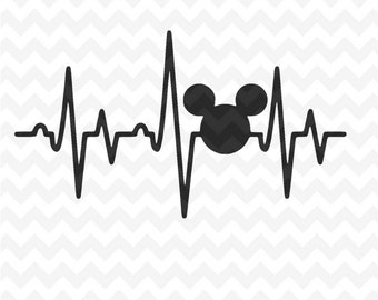 Mickey Mouse heartbeat SVG, Disney Mickey Mouse heartbeat cricut silhouette svg file instant download mickey mouse head svg file