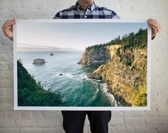 Coastal Cliff Photography, Oregon Cliff Photography, West Coast Seascapes, West Coast Views, Bright Teal, Pacific Ocean, Modern Beach Decor