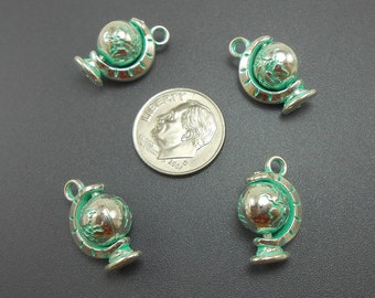 2 Silver Globe Charms 3D spins seafoam green patina antiqued silvertone metal (S619-cnt)