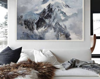 Large wall art, Abstract Painting, Contemporary Art, Abstract art, Landscape oil painting, Canvas art, Large canvas art, mountain Painting