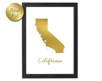 California State Gold Foil Print, California Print, California State, Real Foil Print, California Wall Art, Decor, Rose Gold Silver Foil