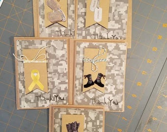 Set of 5 military themed thank you cards