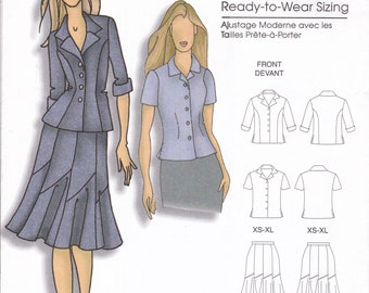 FREE US SHIP Butterick 5047 Sewing Pattern  Women's Designer Connie Crawford Jacket Skirt Blouse  Size xs-xl Bust 34 36 38 40 41 Uncut