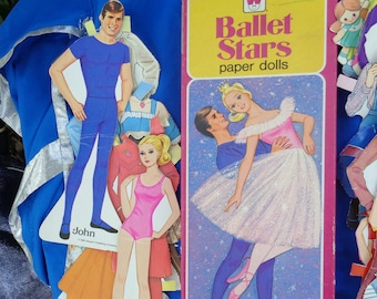 Vintage 1979 1980 Whitman Ballerina Man John, Ballerina Judy, Strawberry Sue Cut-Out Paper Dolls outfits Collectible paper ephemera