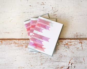 Abstract Banner Letterpress Notecard