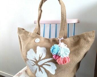 Basket, jute hibicus Hawaiian Beach/Shopping tote bag
