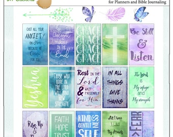 Bible Journal Digital Watercolor Christian Planner Stickers, Faith Word Stickers for Bible Margins, Printable
