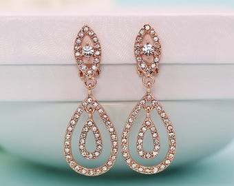 Clip on crystal earrings Rose Gold, clip on rhinestone earrings, clip on wedding earrings, bridal jewelry, Bridget Rose Gold Clip Earrings