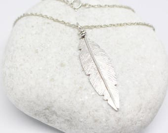 Feather Necklace/Boho Necklace /Feather Pendant/ Silver Feather/ Feather Charm/ Rustic Necklace/ Feather Jewelry/ Nature Necklace