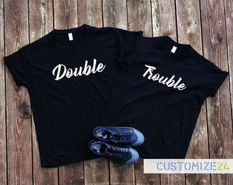 Double trouble t-shirt Best friend shirt Gift for best friend Couple t-shirt Graphic tee Instagram T-shirt Swag tee Trendy t-shirt Top tee