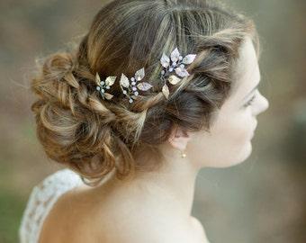 Bridal leaf hair pins Silver wedding hair pins Silver leaf headpiece Silver bridal pins Silver hair accessory Leaf hair comb Bridal hairpins