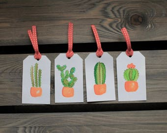 Cactus Gift Tags: Set of Four