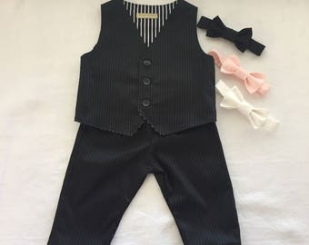 Baby boy ring bearer outfit  pants vest and bow tie