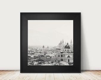 SALE salzburg photograph black and white photograph cathedral photograph austria photograph snow photograph travel photography