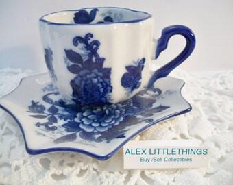 Vintage Cobalt Blue White Tea Cup Teacup Scalloped Tea Party