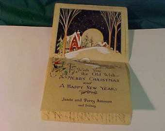 Vintage 1928 Used Art Deco Type Christmas Card w/Christmas Seal