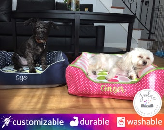 Custom Dog Beds to match your dogs personality | Small Dog Bed, Pink Green, Navy Blue | Design Your Own!