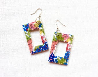 Drop 'fly' earrings. Recycled Fabric. Bright colourful eclectic one of a kind. Dangle. Floral. Rectangle. Rainbow. Flowers. Pretty.