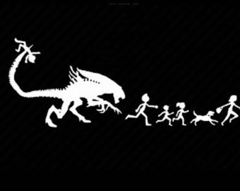 Alien  chasing my stick figure family custom decal sticker for car or truck window in various colors or iron on clothing
