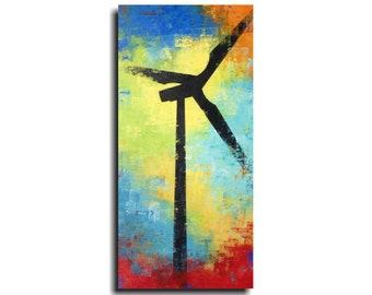 Abstract painting, on canvas, acrylic, wall art, blue, orange, living room decor, art, New York,JMJArtstudio,housewarming gift, sale,