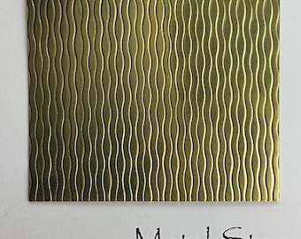 """Textured Brass Sheet 2.5"""" x 3"""" - Wavy Line Pattern 77  - Great for Jewelry or Rolling Mill impressions"""