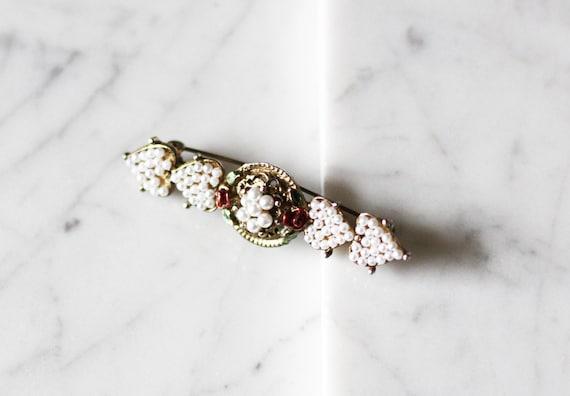 1980s brass hearts pin // 1980s hearts pin // vintage brooch