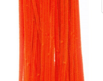 Orange pipe cleaners, orange chenille stems, chenille stems, pipe cleaners