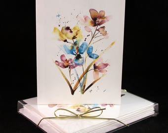 Abstract Floral Botanical Original Watercolor PRINT Note Card Set, Watercolor Cards, Watercolor flower Cards,