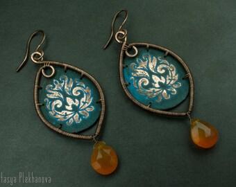 Chalcedony earrings - Etched earrings - Wire wrapped earrings -  Copper earrings