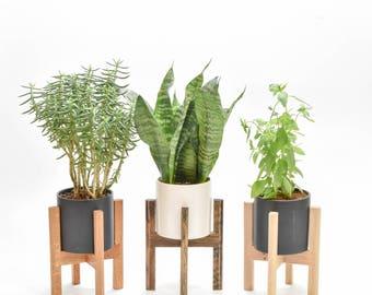 Small - Mid Century Modern Planter, Mid Century Planter Stand, Modern Planter with Stand, Mid Century Planter Pot, West Elm Planter Stand