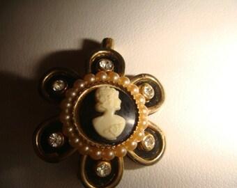 vintage black gold pearl cameo brooch pin