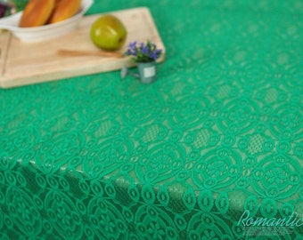 "Laminated Cotton Fabric by the yard Lovely Lace Flour_ Green, Yellow _53.1"" wide 140966"