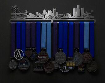 Detroit Cityscape - Allied Medal Hanger Holder Display Rack