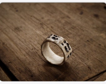 The Deer Tracks Ring . Cloven Hoof Print Carved deer antler unisex tribal talisman ring. Made to order in your size
